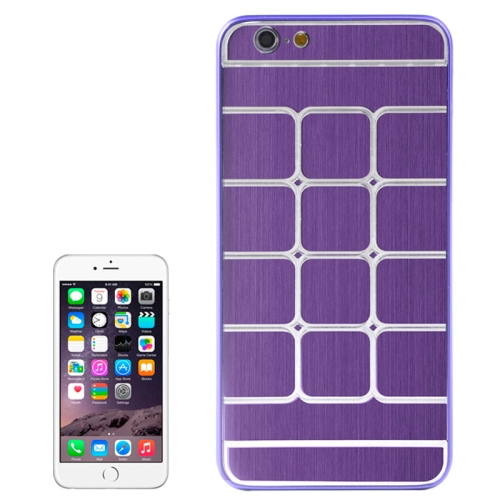 Brushed Texture Grids Dents Shockproof Hard Case Cover for iPhone 6 Plus (Purple)