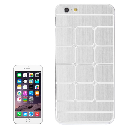 Brushed Texture Grids Dents Shockproof Hard Case Cover for iPhone 6 Plus (White)
