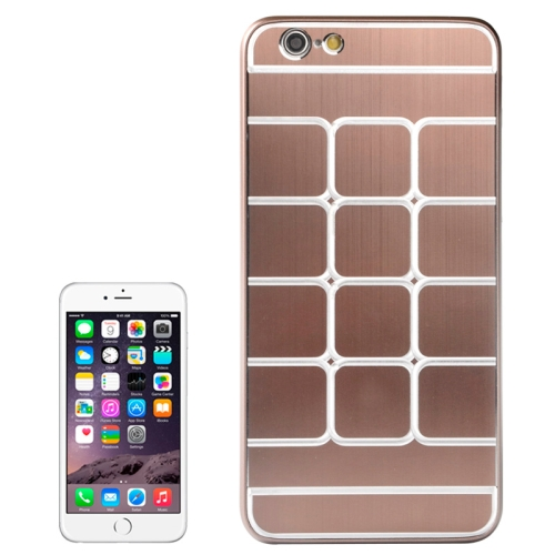 Brushed Texture Grids Dents Shockproof Hard Case Cover for iPhone 6 Plus (Brown)
