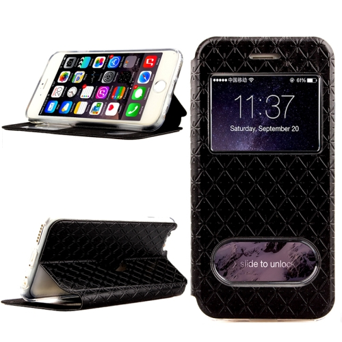 Diamond Pattern Flip Leather Case for iPhone 6 Plus with Caller ID Display Window (Black)