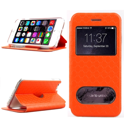 Diamond Pattern Flip Leather Case for iPhone 6 Plus with Caller ID Display Window (Orange)