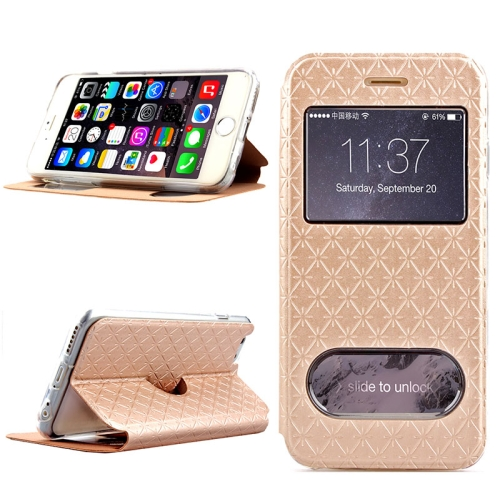 Diamond Pattern Flip Leather Case for iPhone 6 Plus with Caller ID Display Window (Gold)