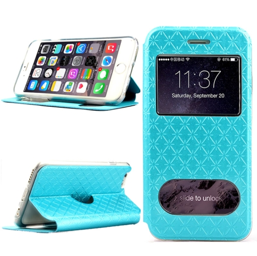 Diamond Pattern Flip Leather Case for iPhone 6 Plus with Caller ID Display Window (Blue)