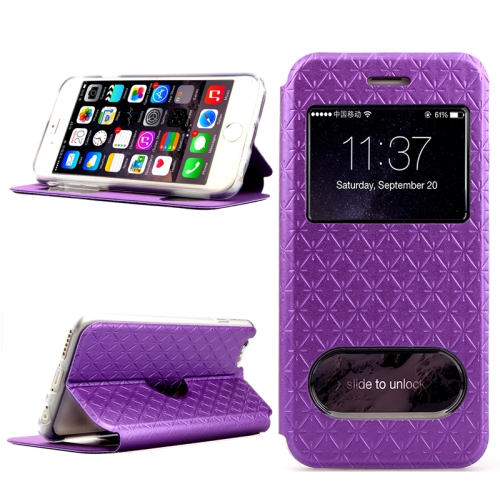 Diamond Pattern Flip Leather Case for iPhone 6 Plus with Caller ID Display Window (Purple)