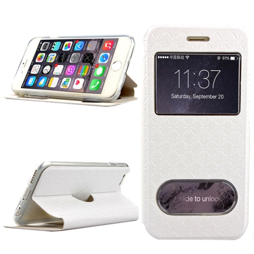 Diamond Pattern Flip Leather Case for iPhone 6 Plus with Caller ID Display Window (White)