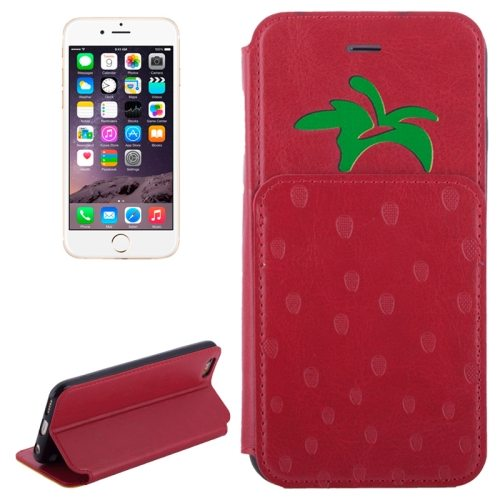 Strawberries Pattern Flip Leather Case for iPhone 6 Plus with Card Slots (Red)