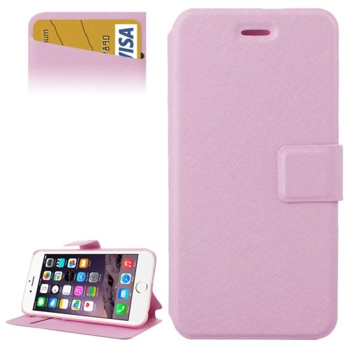 Silk Texture Horizontal Flip Wallet Leather Case for iPhone 6 Plus with Card Slot (Pink)