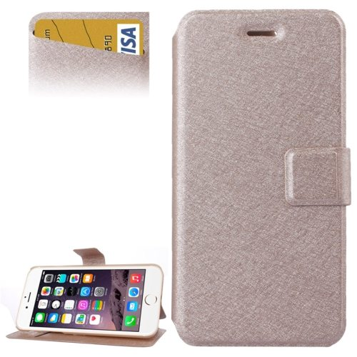 Silk Texture Horizontal Flip Wallet Leather Case for iPhone 6 Plus with Card Slot (Beige)