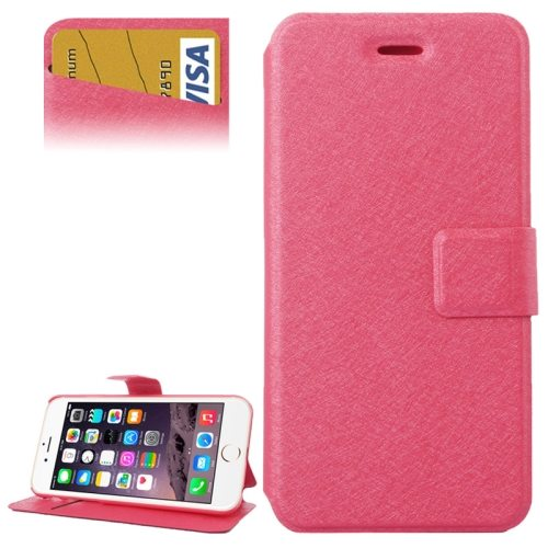 Silk Texture Horizontal Flip Wallet Leather Case for iPhone 6 Plus with Card Slot (Rose)