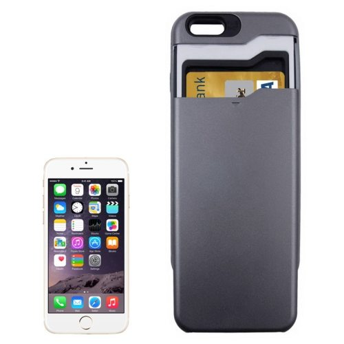 Card Slots Built-in PC + TPU Protective Combination Case for iPhone 6 Plus (Black)