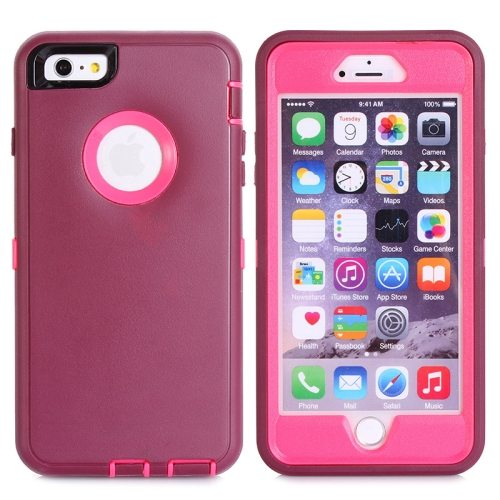 Nice Design 3 in 1 Silicone and Plastic Protective Hybrid Case for iPhone 6 Plus (Wine Red+Pink)
