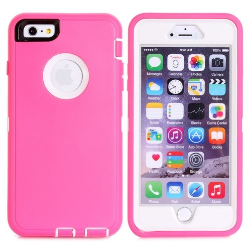 Nice Design 3 in 1 Silicone and Plastic Protective Hybrid Case for iPhone 6  (Pink+White)