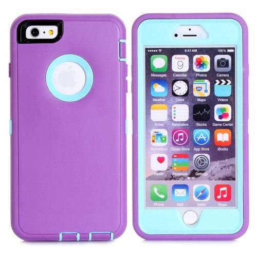 Nice Design 3 in 1 Silicone and Plastic Protective Hybrid Case for iPhone 6 Plus (Purple+Blue)