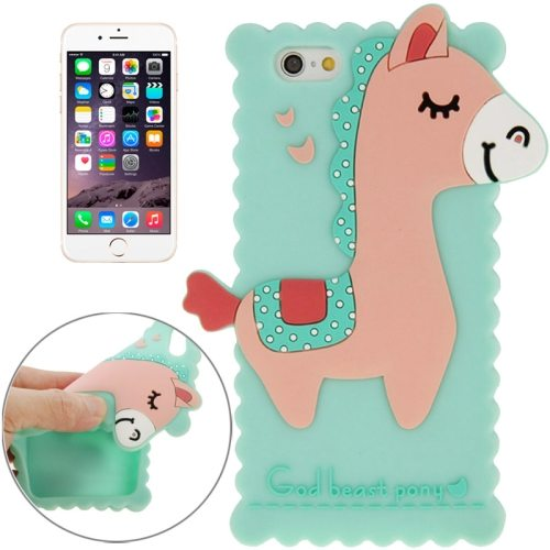 3D God Beast Pony Style Cute Silicone Case for iPhone 6 Plus 5.5 Inch (Green)