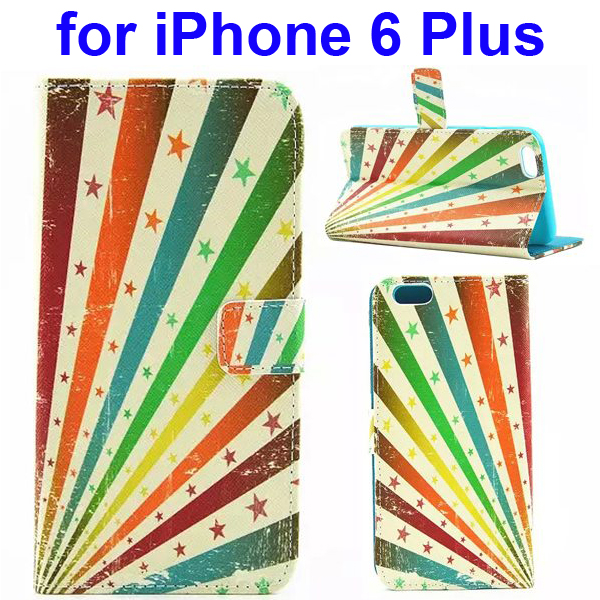 Colored Drawing Style Flip Wallet Leather Cover for iPhone 6 Plus with Holder (Five-Pointed Star)