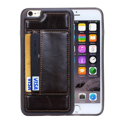 Crazy Horse Texture PU Leather + PC + TPU Protective Wallet Case for iPhone 6 Plus (Dark Brown)