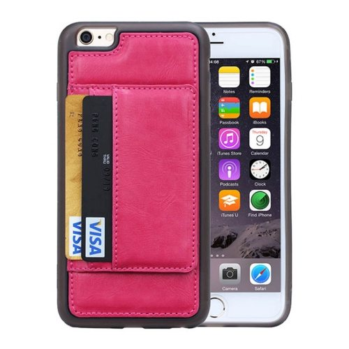 Crazy Horse Texture PU Leather + PC + TPU Protective Wallet Case for iPhone 6 Plus (Rose)