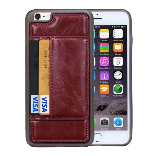 Crazy Horse Texture PU Leather + PC + TPU Protective Wallet Case for iPhone 6 Plus (Redwine)