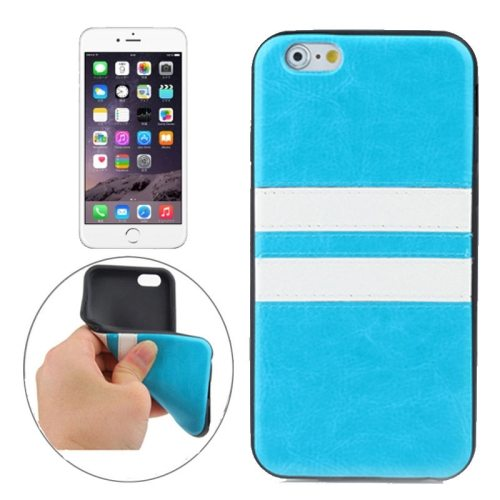 New Pattern PU Leather Coated TPU Skin Protective Case for iPhone 6 Plus (Blue)