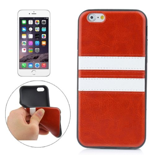 New Pattern PU Leather Coated TPU Skin Protective Case for iPhone 6 Plus (Brown)