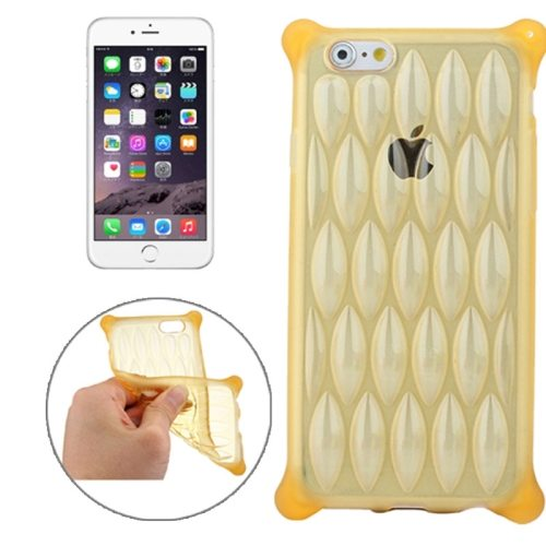 New Arrival Transparent Net-shaped Pattern TPU Protective Case for iPhone 6 Plus (Gold)
