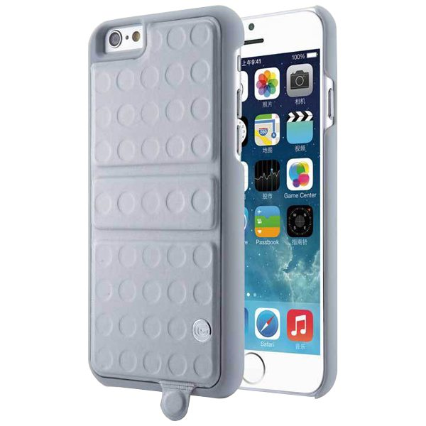 360 Degree Rotatable Kickstand Mirror Style PU Leather and PC Protective Case for iPhone 6 Plus (Grey)