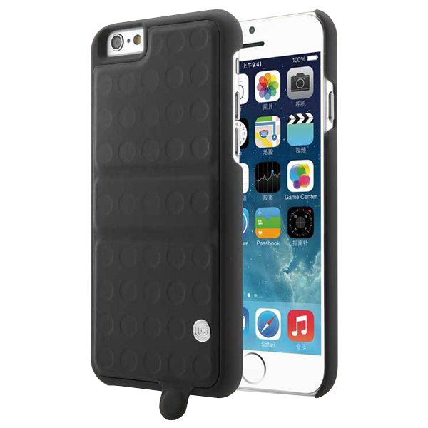 360 Degree Rotatable Kickstand Mirror Style PU Leather and PC Protective Case for iPhone 6 Plus (Black)