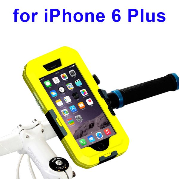 Newest Item Outdoor Sports Waterproof Case Bike Mount Holder for iPhone 6 Plus(Yellow)
