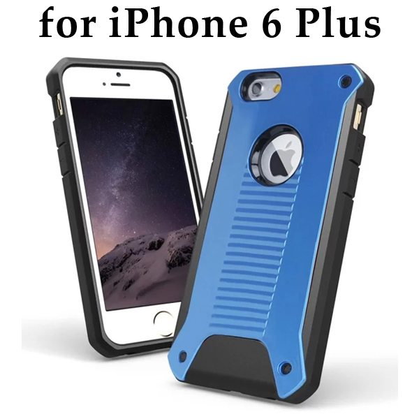 New Design TPU and Hard Plastic Shockproof Rugged Armor Hybrid Cover for iPhone 6 Plus (Blue)