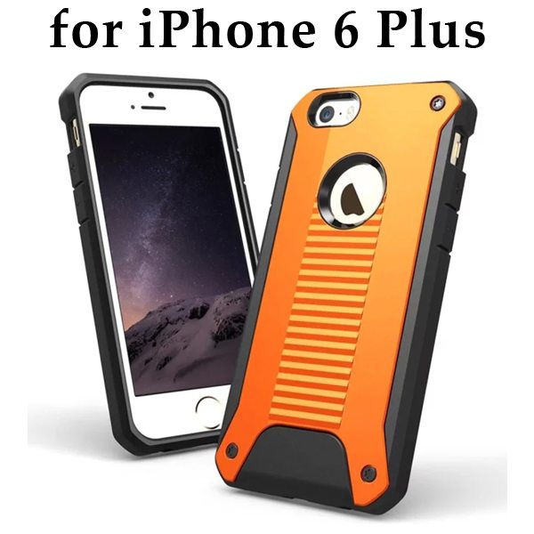 New Design TPU and Hard Plastic Shockproof Rugged Armor Hybrid Cover for iPhone 6 Plus (Orange)