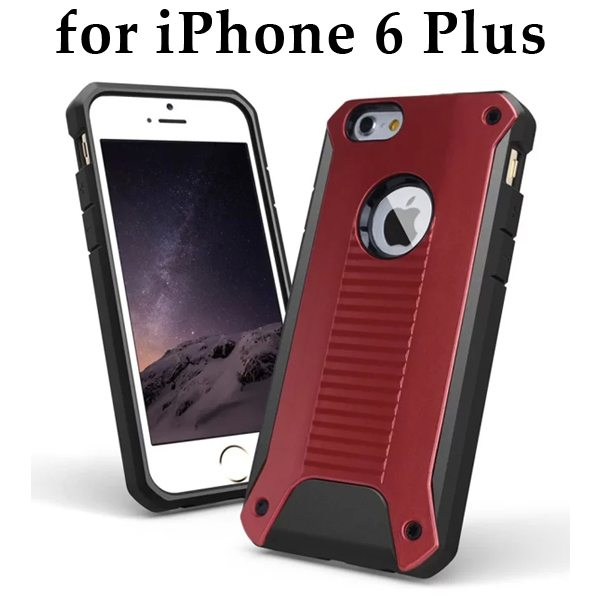 New Design TPU and Hard Plastic Shockproof Rugged Armor Hybrid Cover for iPhone 6 Plus (Red)
