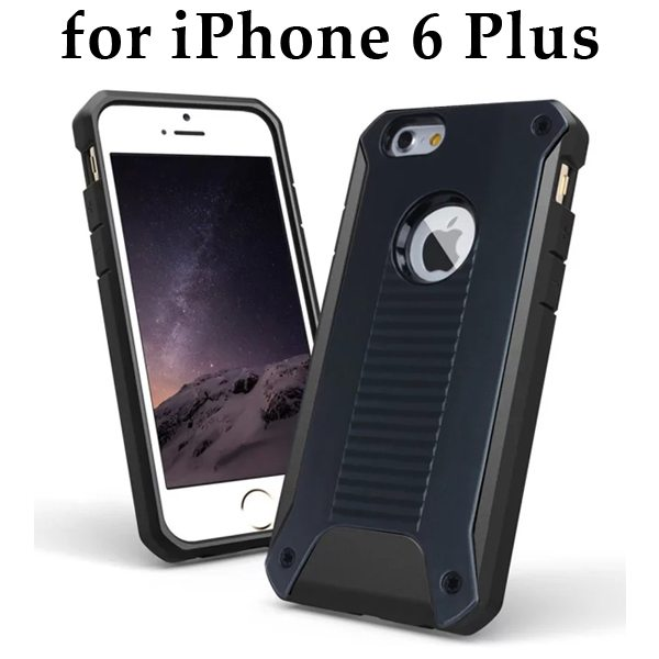 New Design TPU and Hard Plastic Shockproof Rugged Armor Hybrid Cover for iPhone 6 Plus (Black)