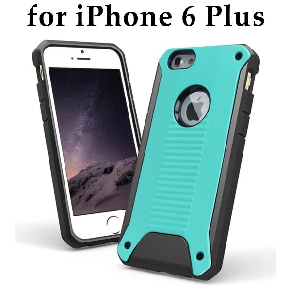 New Design TPU and Hard Plastic Shockproof Rugged Armor Hybrid Cover for iPhone 6 Plus (Green)