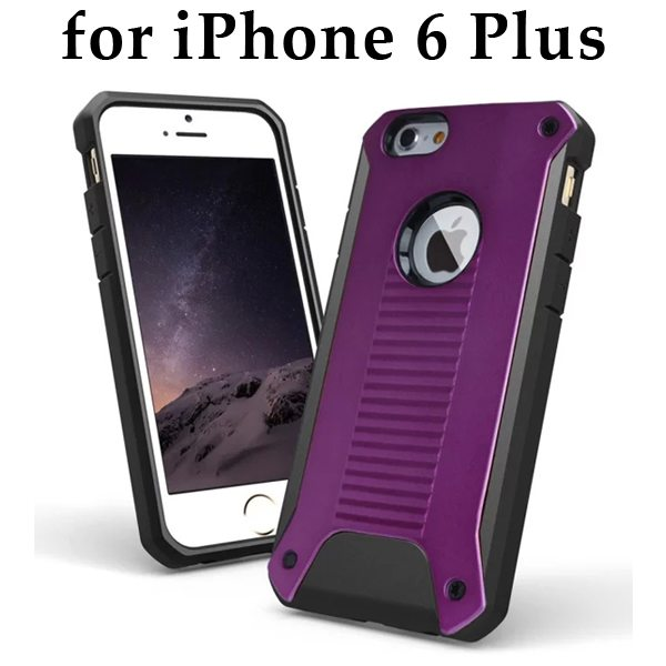 New Design TPU and Hard Plastic Shockproof Rugged Armor Hybrid Cover for iPhone 6 Plus (Purple)