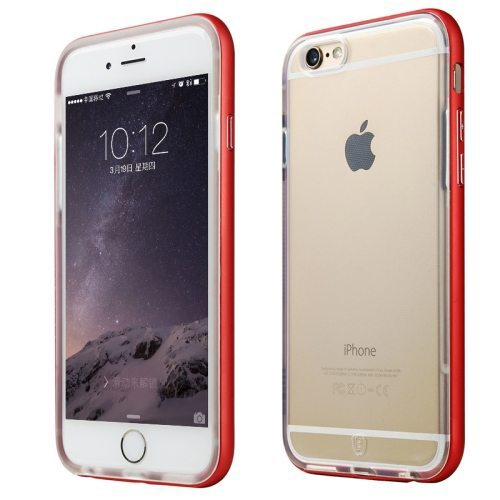 Premium Quality Metal Frame Soft TPU Protective Cover for iPhone 6 Plus (Red)