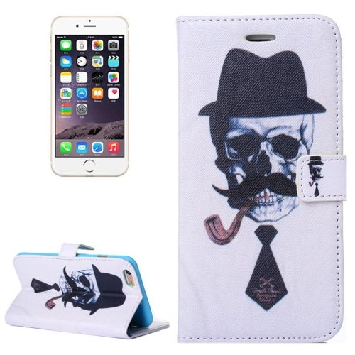 Color Painting Texture Flip Wallet PU Leather Cell Phone Case Cover for iPhone 6 (Skull Gentleman)