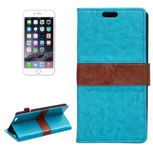 Mix Color Crazy Horse Texture Horizontal Wallet Style Flip Leather Cover Case for iPhone 6 Plus (Blue)