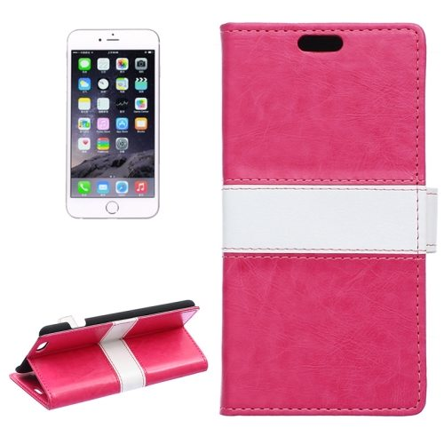 Mix Color Crazy Horse Texture Horizontal Wallet Style Flip Leather Cover Case for iPhone 6 Plus (Rose)