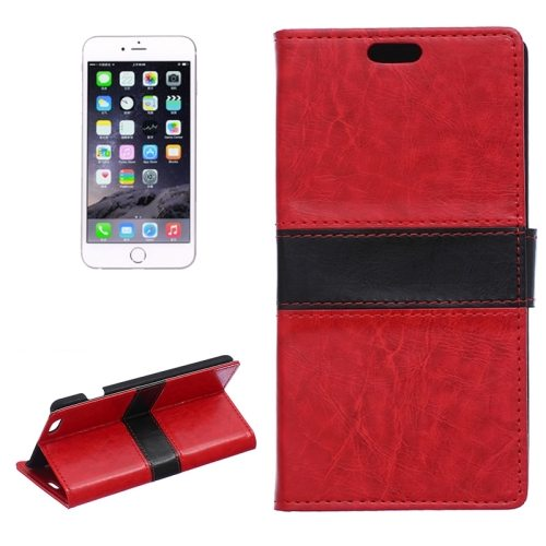 Mix Color Crazy Horse Texture Horizontal Wallet Style Flip Leather Cover Case for iPhone 6 Plus (Red)