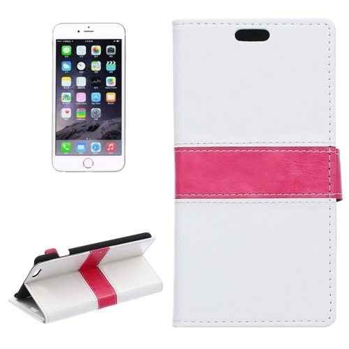 Mix Color Crazy Horse Texture Horizontal Wallet Style Flip Leather Cover Case for iPhone 6 Plus (White)