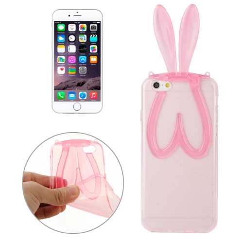 Cute 3D Rabbit Ear Pattern Durable TPU Protective Case for iPhone 6 Plus(Pink)