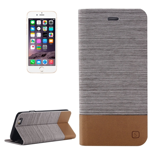 Flip Stand Canvas Leather Case Cover for iPhone 6 Plus with Card Slot (Gray)