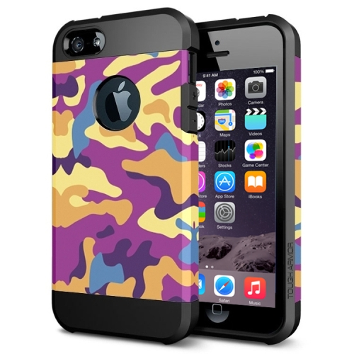 Various Designs 2 In 1 Pattern PC and TPU Armor Hard Case for iPhone 6 Plus (Purple Camouflage Pattern)