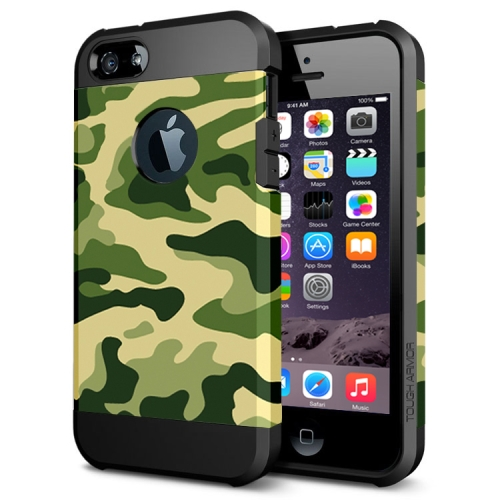 Various Designs 2 In 1 Pattern PC and TPU Armor Hard Case for iPhone 6 Plus (Green Camouflage Pattern)