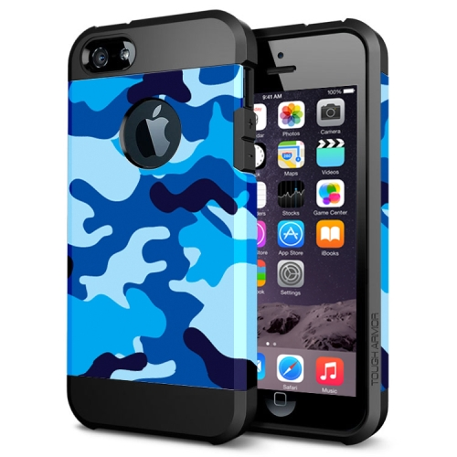 Various Designs 2 In 1 Pattern PC and TPU Armor Hard Case for iPhone 6 Plus (Blue Camouflage Pattern)