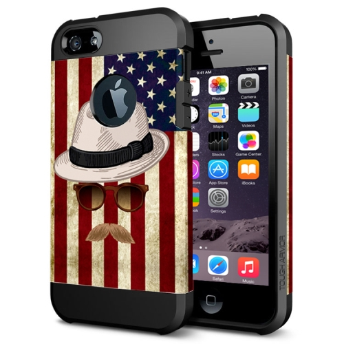 Various Designs 2 In 1 Pattern PC and TPU Armor Hard Case for iPhone 6 Plus (Flag and Straw Hat Pattern)
