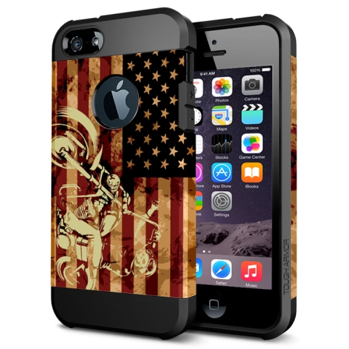 Various Designs 2 In 1 Pattern PC and TPU Armor Hard Case for iPhone 6 Plus (Flag and Motorcycle Pattern)