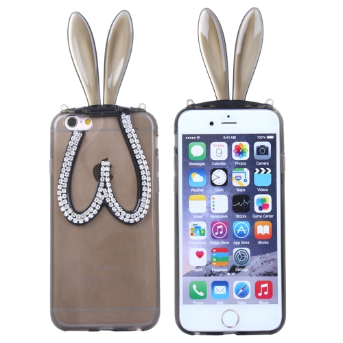 3D Folding Diamond-Encrusted Rabbit Ear Pattern Protective Cute TPU Case for iPhone 6 Plus (Gray)