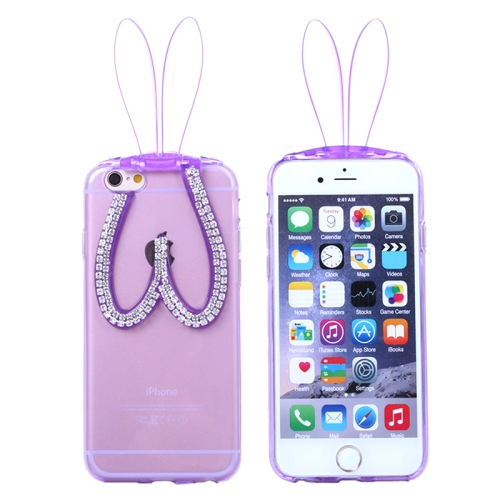 3D Folding Diamond-Encrusted Rabbit Ear Pattern Protective Cute TPU Case for iPhone 6 Plus (Purple)