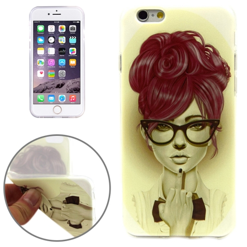 Girl with Glasses Pattern Soft TPU Protective Case for iPhone 6 Plus